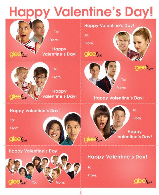 Free Downloadable and Printable GLEE Valentine's Day cards