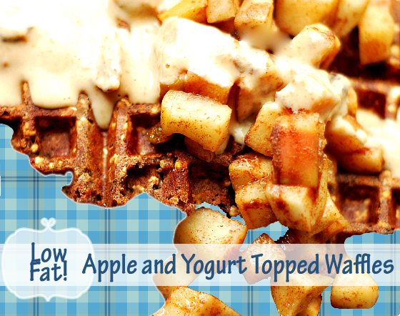 Low Fat, High Fiber Walfle with Yogurt and Apple Topping