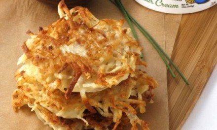 Recipe:  Holiday Red Onion and Potato Latkes with Cinnamon Apple Sour Cream