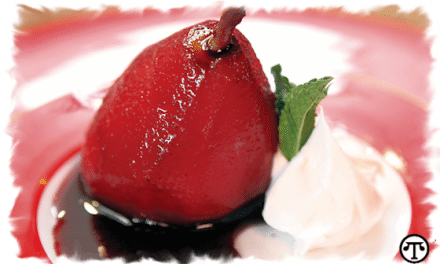 Recipe:  Glazed Wine Poached Pears with Pudding Filling and Whipped Cream