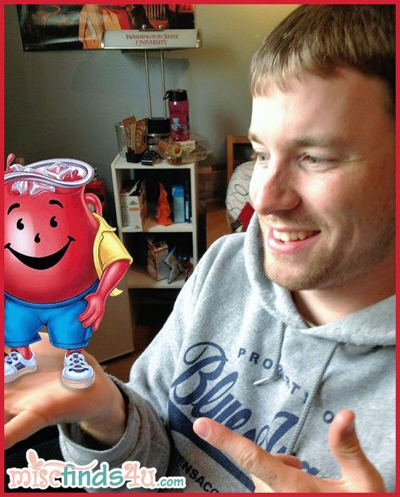 Alex is just chillin' with Kool-Aid Man, livin' the pitcher life.