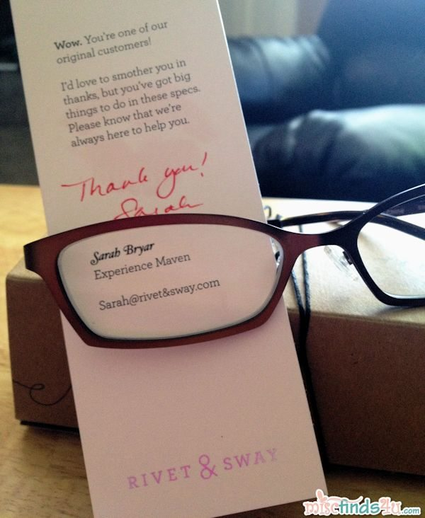 Rivet & Sway included a thank you note!