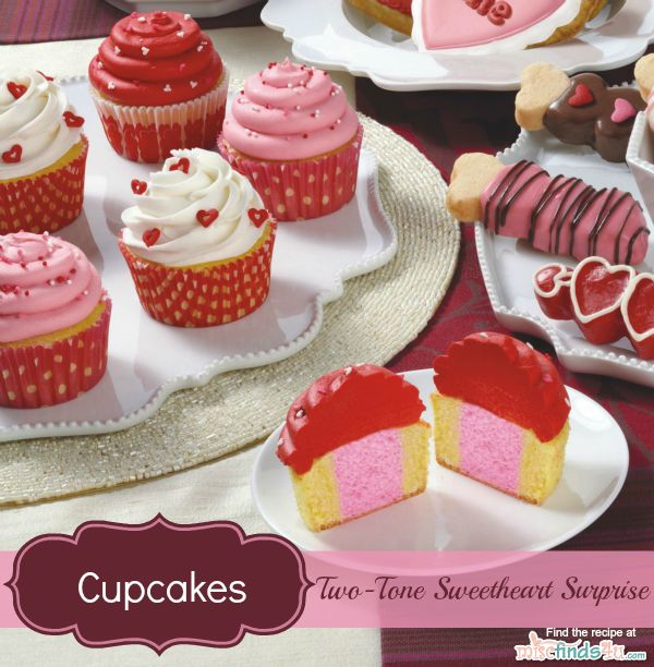 Valentine's Day Recipes: Two-Tone Cupcakes Decorating Ideas and Recipe