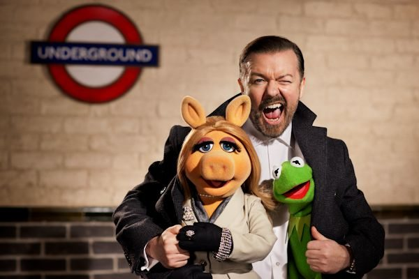 """ALL ABOARD! -- Disney's """"€œThe Muppets Again!""""€ takes the entire Muppets gang on a global tour where they find themselves unwittingly entangled in an international crime caper. Starring Ricky Gervais, Ty Burrell and Tina Fey, the all-new big-screen adventure hits theaters March 21, 2014. Photo by: Greg Williams ©2013 Disney Enterprises, Inc. All Rights Reserved."""