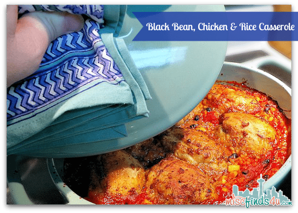 Chicken Recipe Black Bean and Rice Casserole in my new Bobby Flay Stoneware Oval Casserole Dish from Khol's