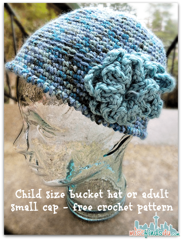 Crotchet How To: Child size bucket hat or adult small cap - free crochet pattern