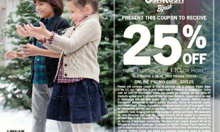 OshKosh B'gosh 25% Off Coupon #IC #GIVEHAPPY @OshKoshBgosh #ad