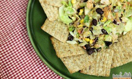 3-Ingredient Triscuit Challenge: Southwest Veggie Caviar, Chicken, and BBQ Ranch Dressing