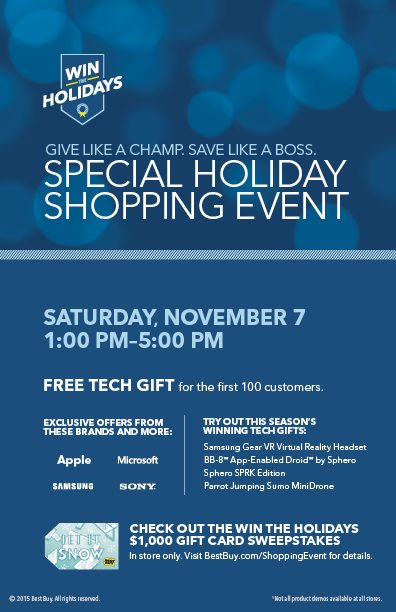 Best Buy Holiday Shopping Event 11/7 @BestBuy #WinTheHolidaysSweepstakes - ad