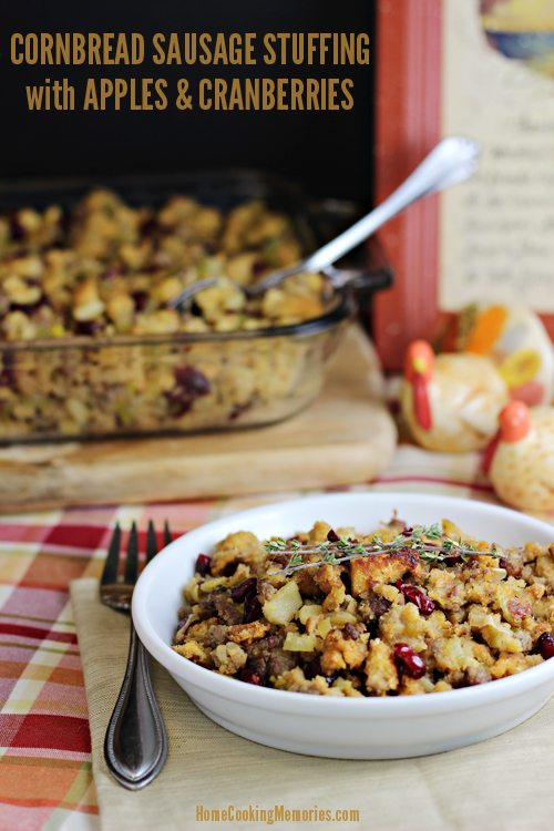 Thanksgiving side dish: Cornbread Sausage Stuffing with Apples and Cranberries