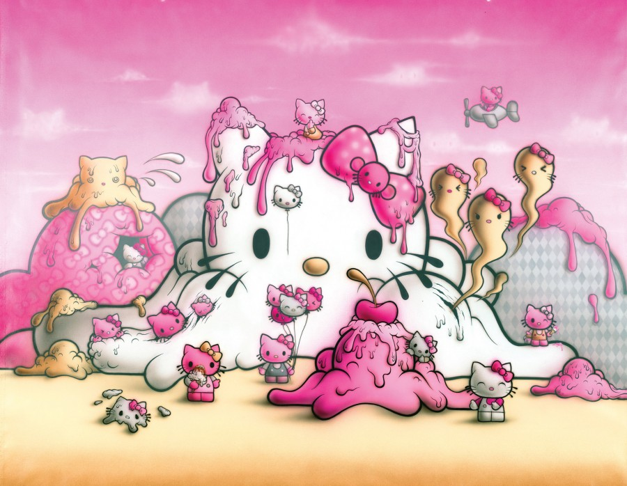 Buff Monster Melty Kitty Dream 2014, Acrylic on Canvas